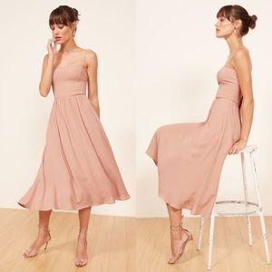 NWT Reformation Rosehip Midi Crepe Smocked Dress 8